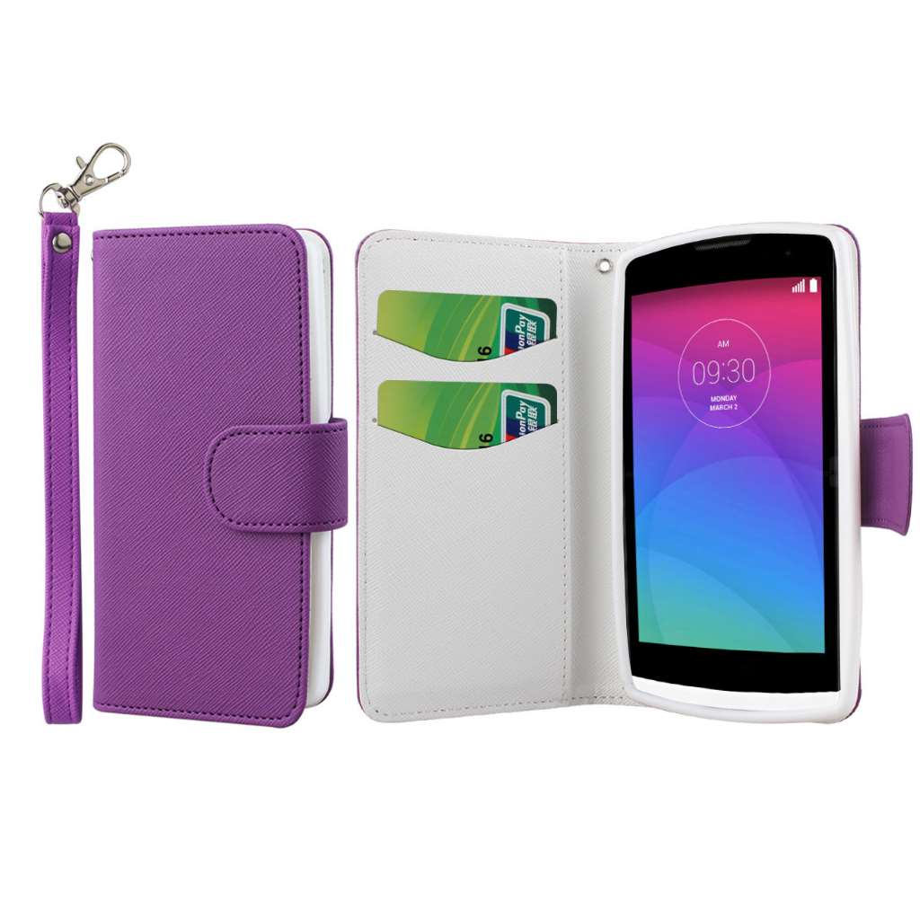 LG Leon - Purple MPERO FLEX FLIP Wallet Case Cover