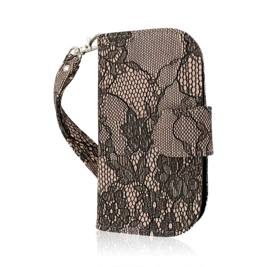 Samsung Galaxy Exhibit - Black Lace MPERO FLEX FLIP Wallet Case Cover