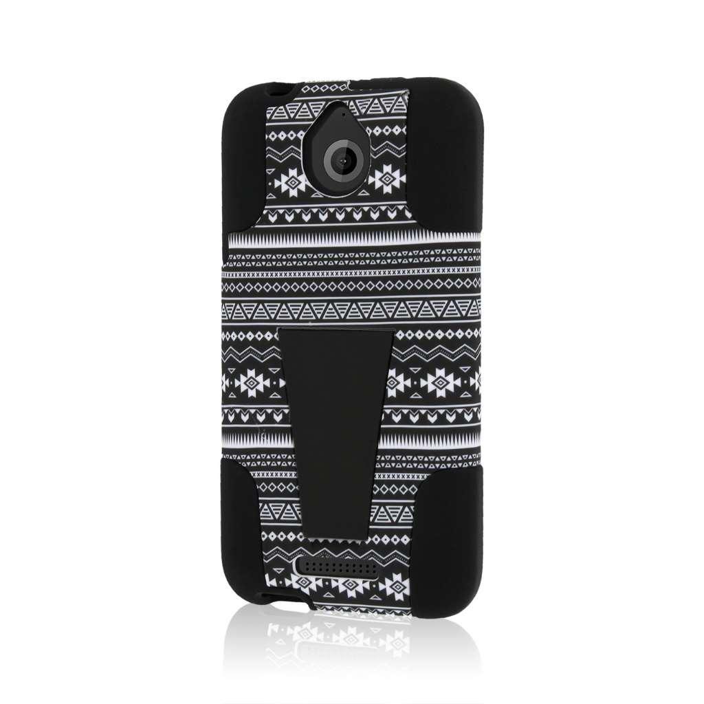 HTC Desire 510 512 - Black Aztec MPERO IMPACT X - Kickstand Case Cover