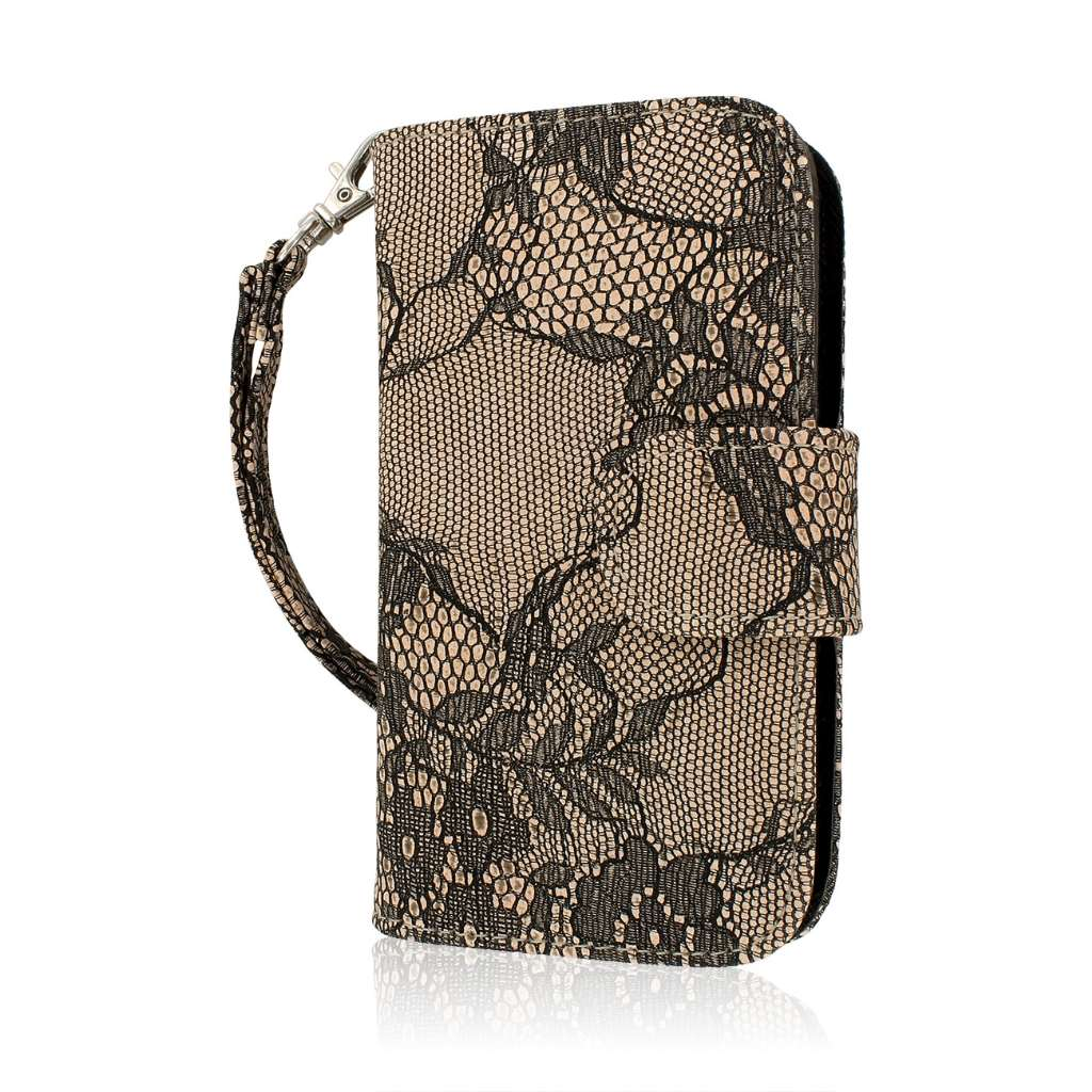 ZTE Concord 2 - Black Lace MPERO FLEX FLIP Wallet Case Cover