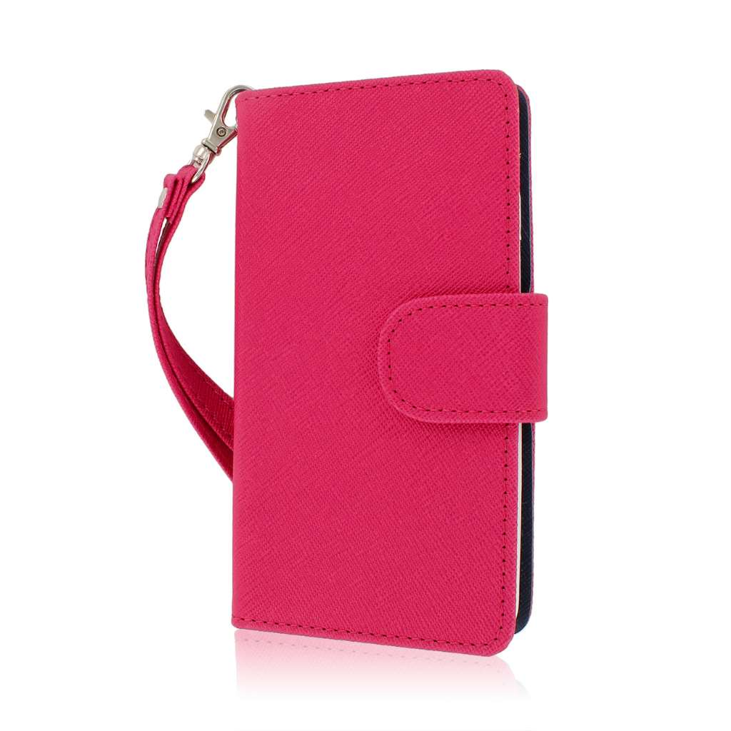 LG Optimus F7 - PINK/ NAVY BLUE MPERO FLEX FLIP Wallet Case Cover