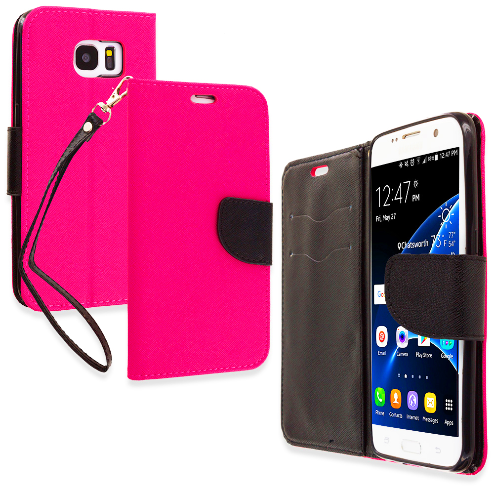 Samsung Galaxy S7 Edge Hot Pink / Black Leather Flip Wallet Pouch TPU Case Cover with ID Card Slots