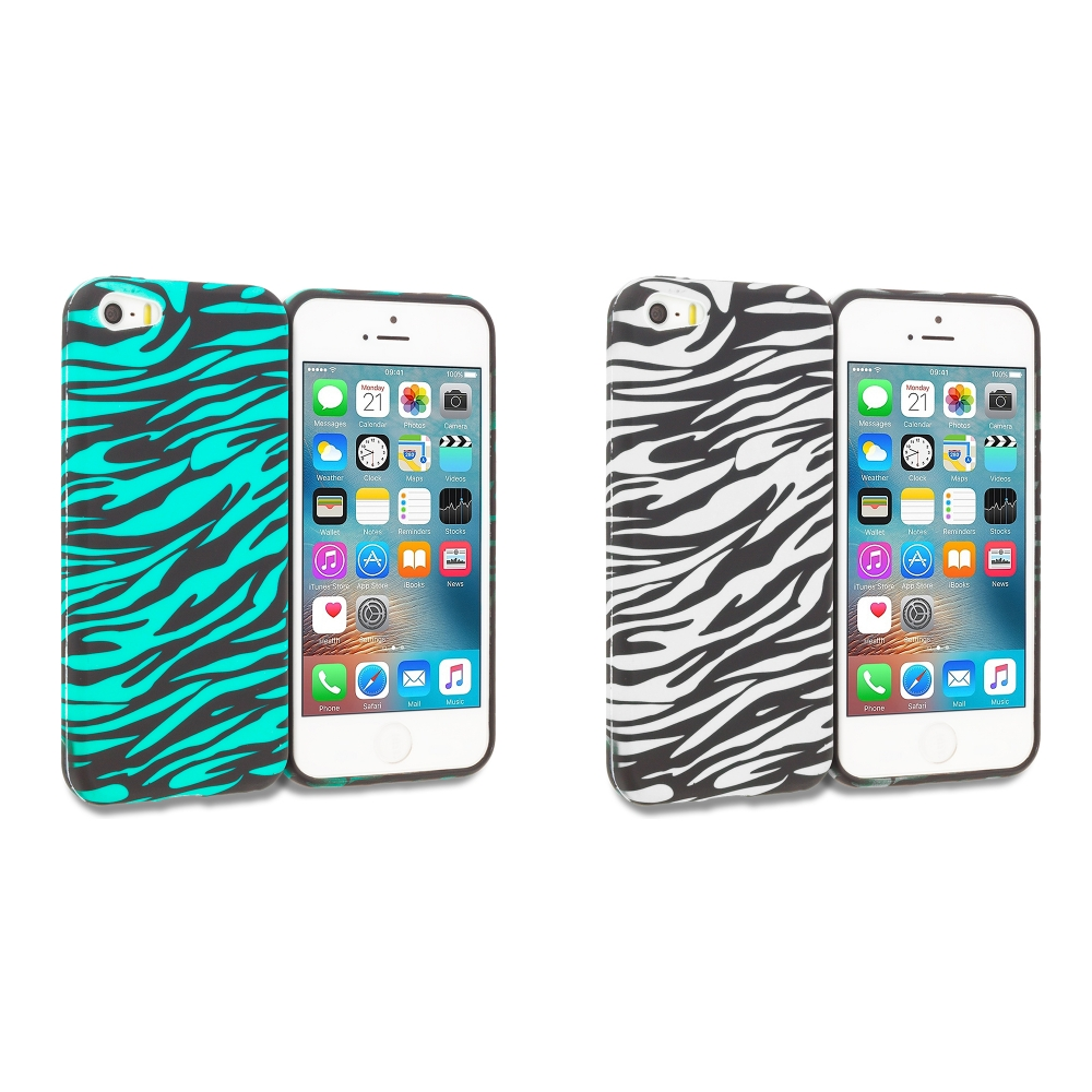 Apple iPhone 5/5S/SE Combo Pack : Black/Baby Blue Zebra TPU Design Soft Rubber Case Cover