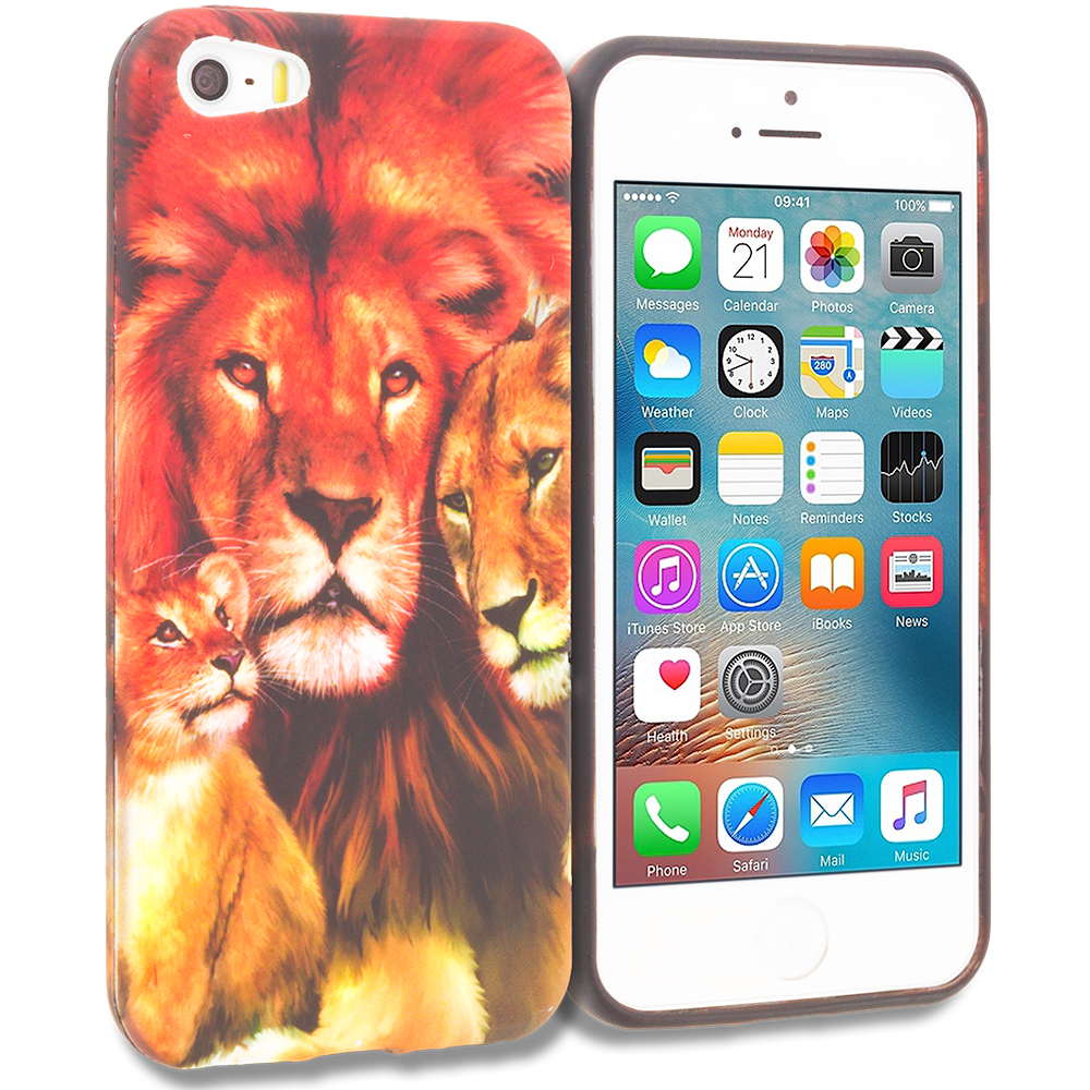 Apple iPhone 5/5S/SE Combo Pack : Lion Family TPU Design Soft Rubber Case Cover : Color Lion Family
