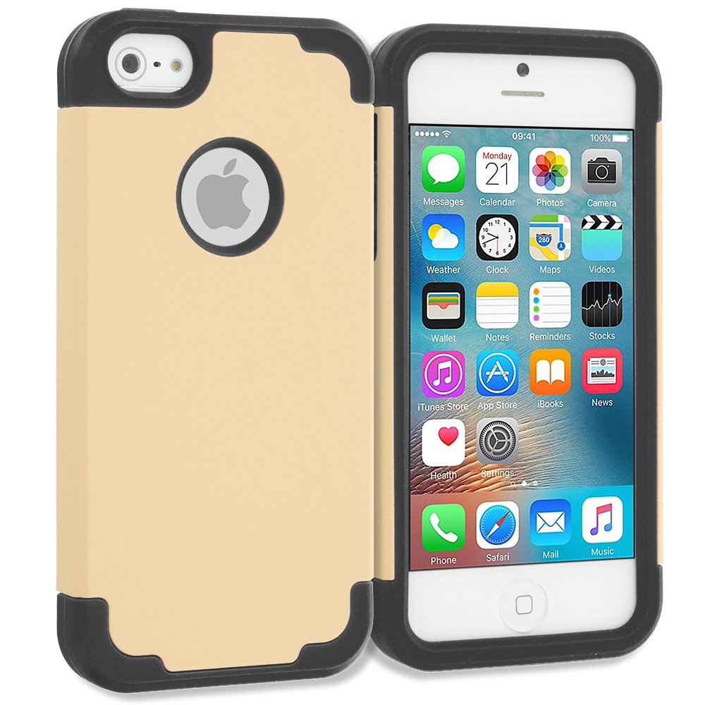 Apple iPhone 5/5S/SE Gold / Black Hybrid Slim Hard Soft Rubber Impact Protector Case Cover
