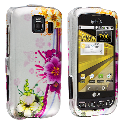 LG Optimus S LS670 / U / V Purple Flower Chain Design Crystal Hard Case Cover