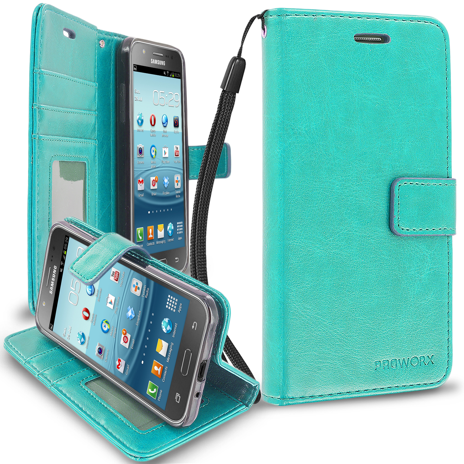 Samsung Galaxy J3 2016 Amp Prime Express Prime J3V Mint Green ProWorx Wallet Case Luxury PU Leather Case Cover With Card Slots & Stand