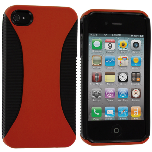 Apple iPhone 4 / 4S 2 in 1 Combo Bundle Pack - Yellow / Orange Hybrid Hard/TPU Case Cover : Color Black / Orange