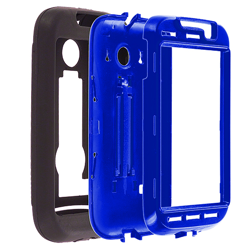 Huawei Ascend 2 M865 Black / Blue Hybrid Heavy Duty Hard/Soft Case Cover with Stand