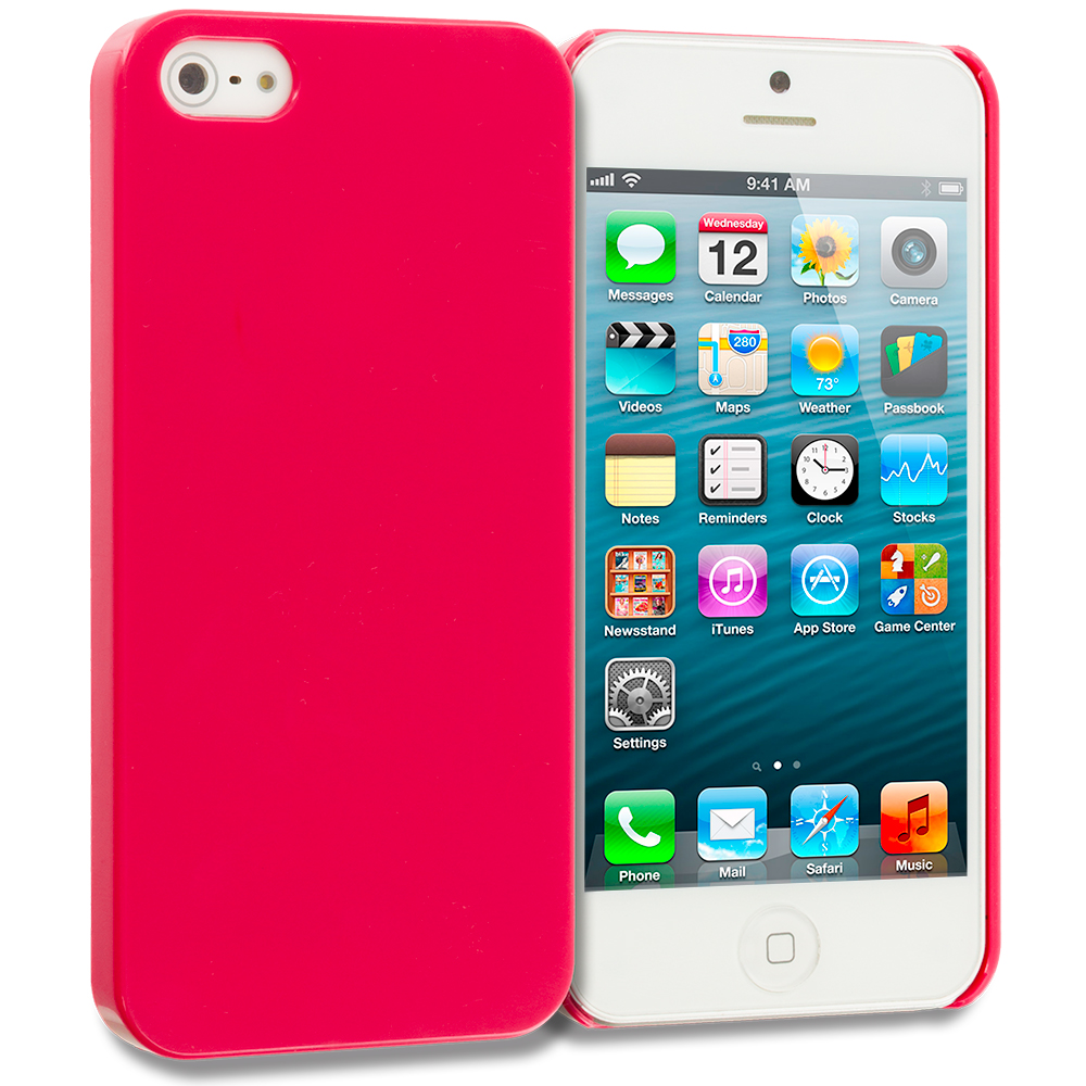 Apple iPhone 5/5S/SE Combo Pack : Baby Blue Solid Crystal Hard Back Cover Case : Color Red Solid