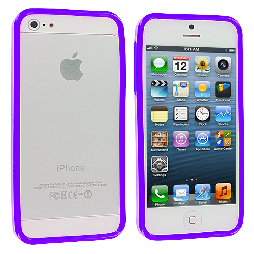 Apple iPhone 5/5S/SE Combo Pack : Blue Solid TPU Bumper : Color Purple Solid