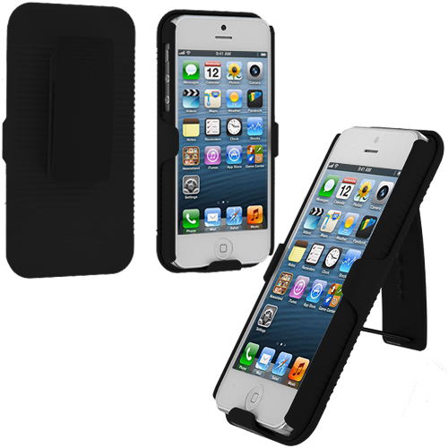 Apple iPhone 5 Black Hard Rubberized Belt Clip Holster Case Cover