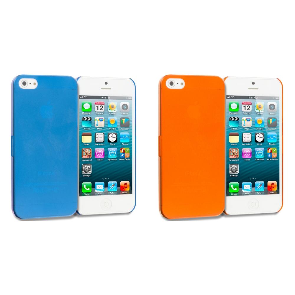Apple iPhone 5/5S/SE Combo Pack : Orange 0.3mm Crystal Hard Back Cover Case