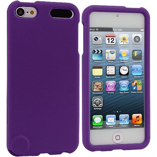 Apple iPod Touch 5th 6th Generation Purple Hard Rubberized Case Cover