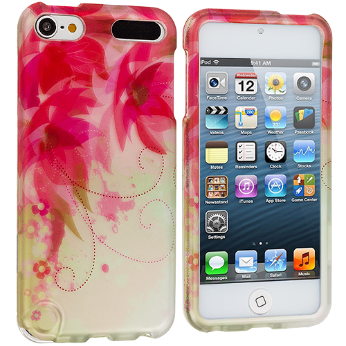 Apple iPod Touch 5th 6th Generation 2 in 1 Combo Bundle Pack - Pink Fairy Tale Hard Rubberized Design Case Cover : Color Flowers with Red Leaf