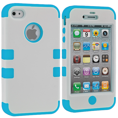 Apple iPhone 4 / 4S White / Baby Blue Hybrid Tuff Hard/Soft 3-Piece Case Cover