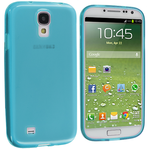 Samsung Galaxy S4 2 in 1 Combo Bundle Pack - Clear Plain TPU Rubber Skin Case Cover : Color Baby Blue Plain
