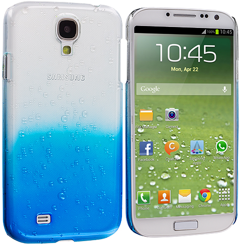Samsung Galaxy S4 2 in 1 Combo Bundle Pack - Black Blue Crystal Raindrop Hard Case Cover : Color Blue