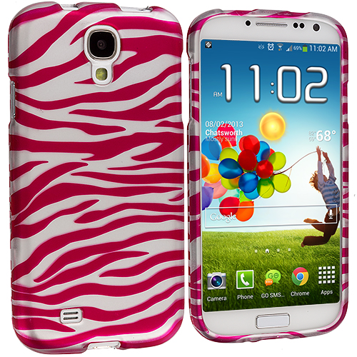 Samsung Galaxy S4 Pink / White Zebra Hard Rubberized Design Case Cover