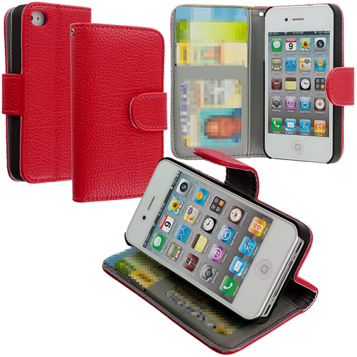 Apple iPhone 4 / 4S Red Texture Leather Wallet Pouch Case Cover with Slots