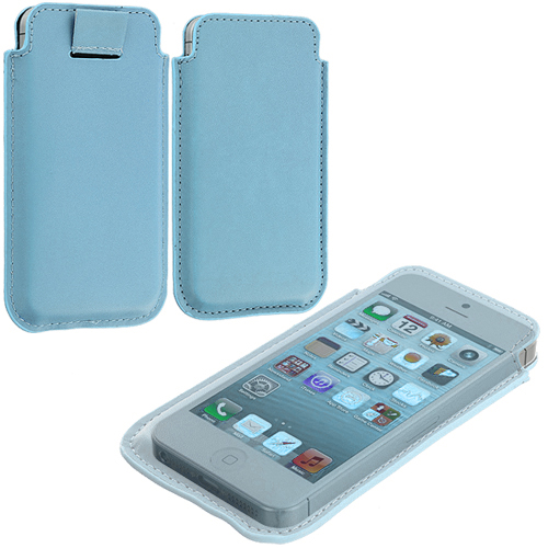 Apple iPhone 5/5S/SE Combo Pack : Baby Blue Sleeve Pouch : Color Baby Blue