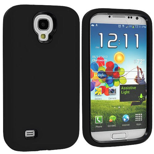 Samsung Galaxy S4 Black + Protector Hybrid Deluxe Hard/Soft Case Cover