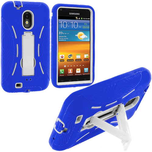 Samsung Epic Touch 4G D710 Sprint Galaxy S2 Blue / White Hybrid Heavy Duty Hard/Soft Case Cover with Stand