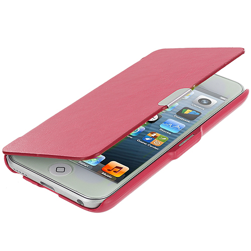 Apple iPod Touch 5th 6th Generation Hot Pink Texture Magnetic Wallet Case Cover Pouch