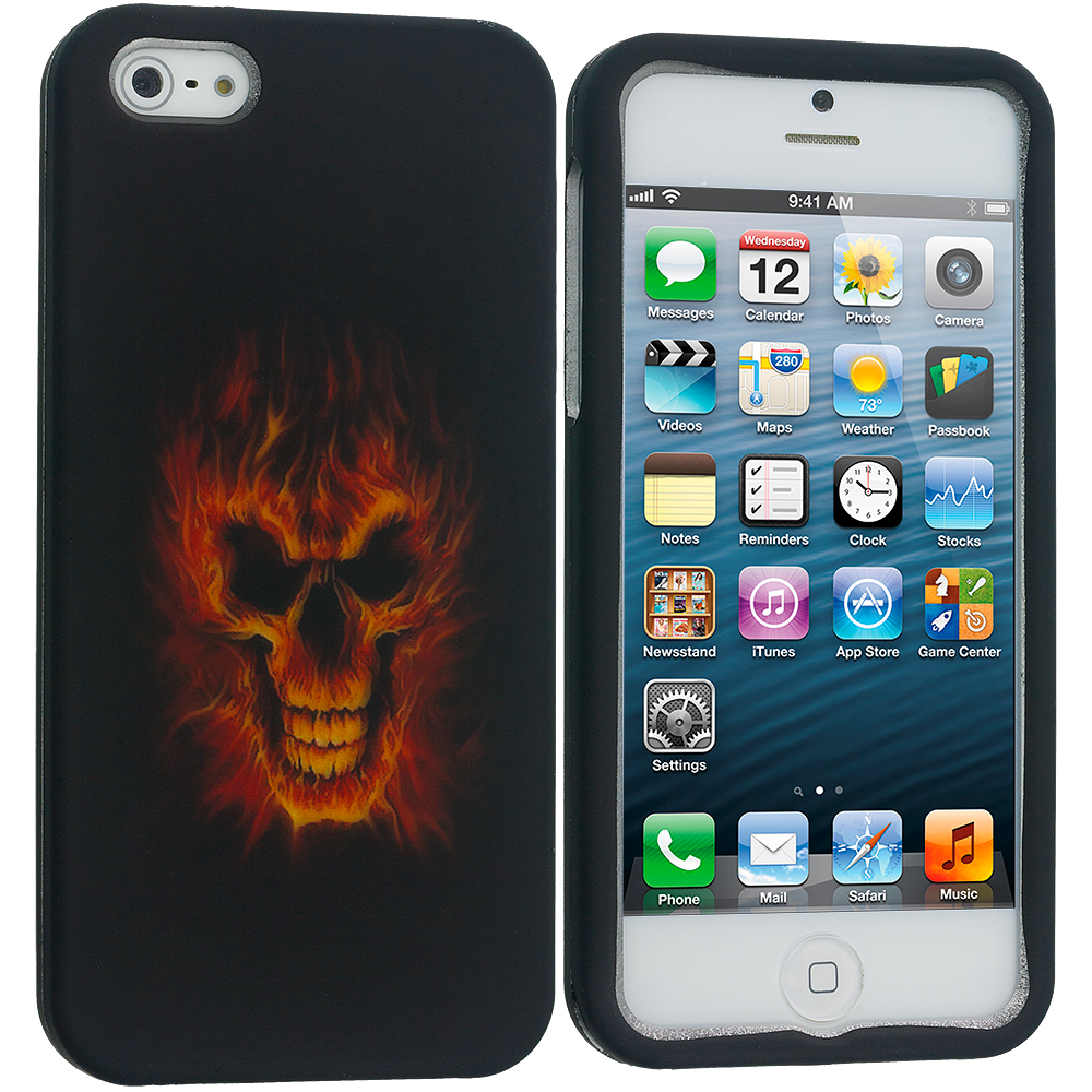 Apple iPhone 5/5S/SE 4 in 1 Combo Bundle Pack - Skulls Hard Rubberized Design Case Cover : Color Fire Skull
