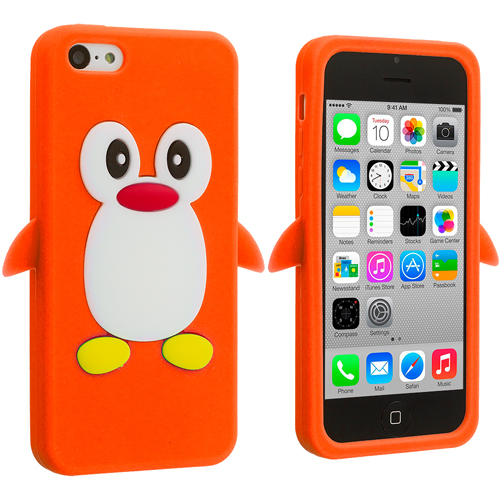 Apple iPhone 5C 2 in 1 Combo Bundle Pack - Black Orange Penguin Silicone Design Soft Skin Case Cover : Color Orange Penguin
