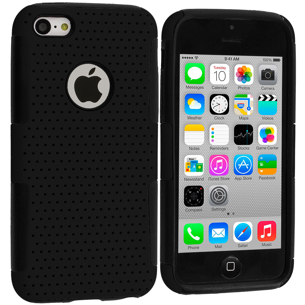 Apple iPhone 5C Black / Black Hybrid Mesh Hard/Soft Case Cover