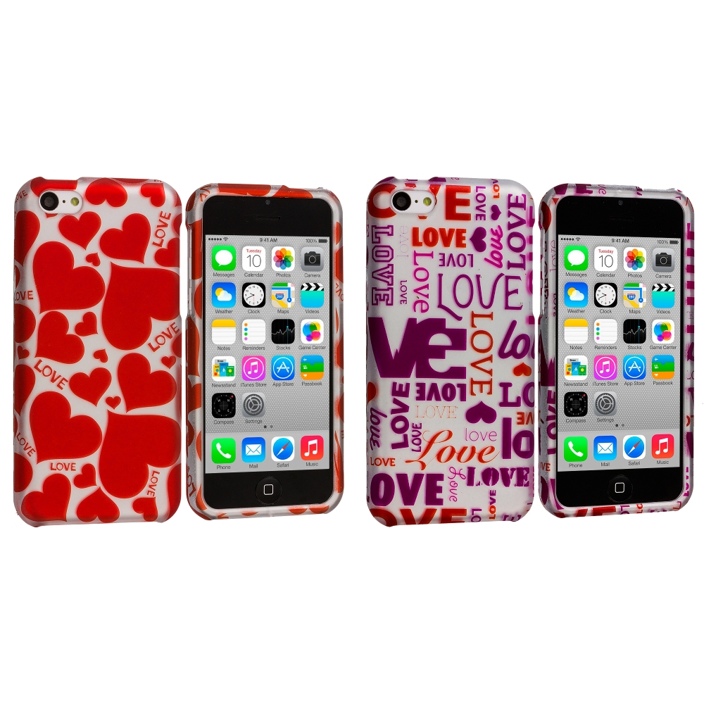Apple iPhone 5C 2 in 1 Combo Bundle Pack - Hearts Love Hard Rubberized Design Case Cover