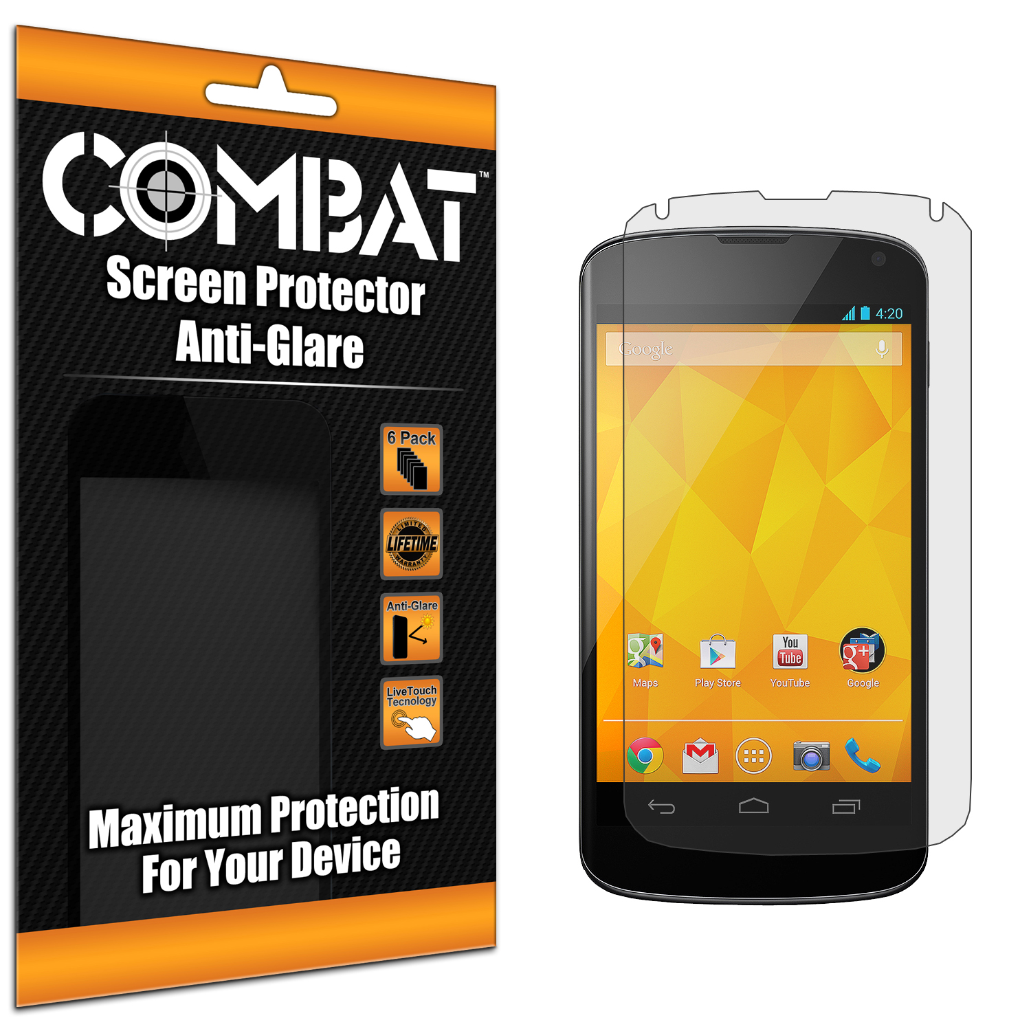 LG Google Nexus 4 Combat 6 Pack Anti-Glare Matte Screen Protector