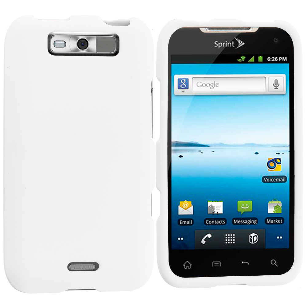 LG Viper / Connect White Hard Rubberized Case Cover