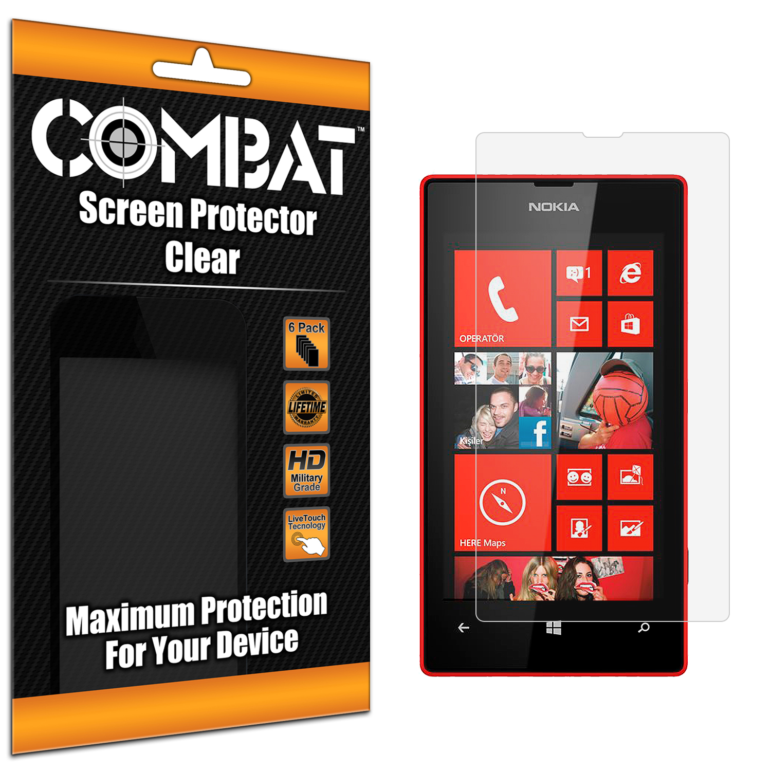 Nokia Lumia 520 Combat 6 Pack HD Clear Screen Protector
