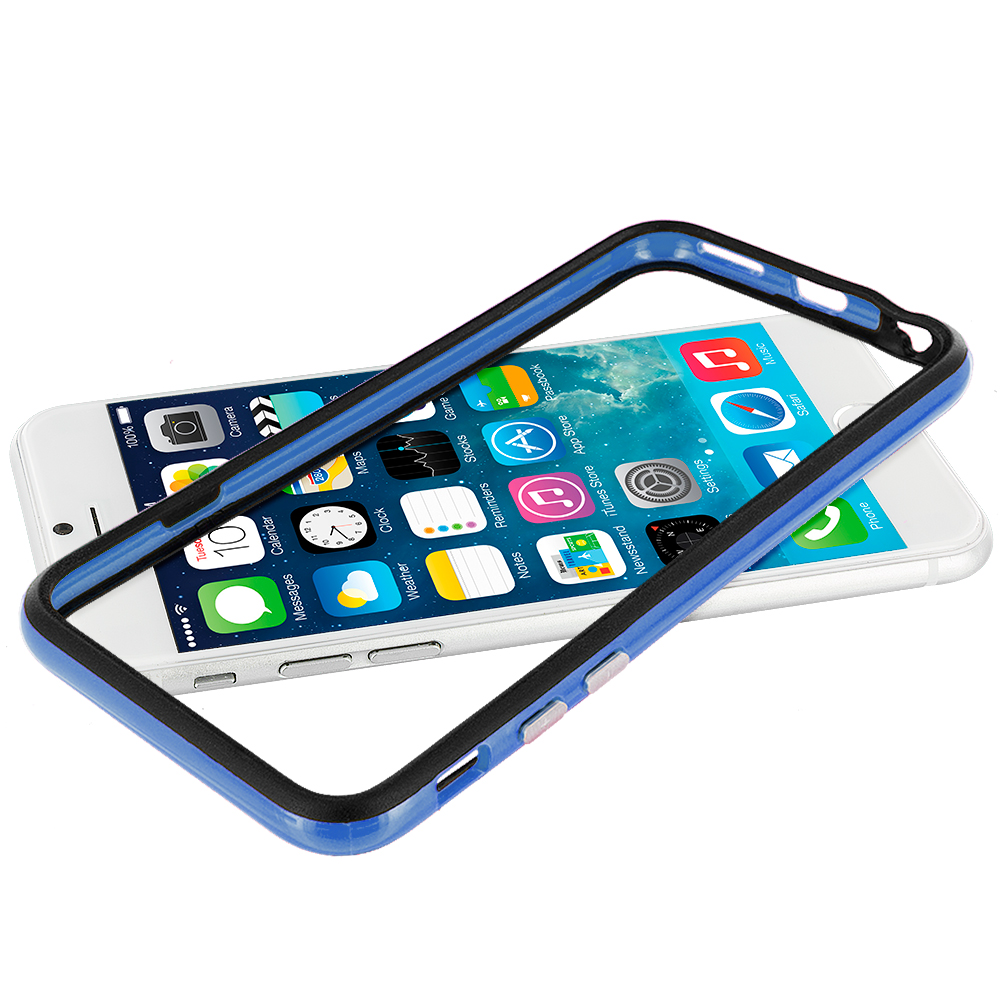Apple iPhone 6 6S (4.7) Black / Blue TPU Bumper with Metal Buttons