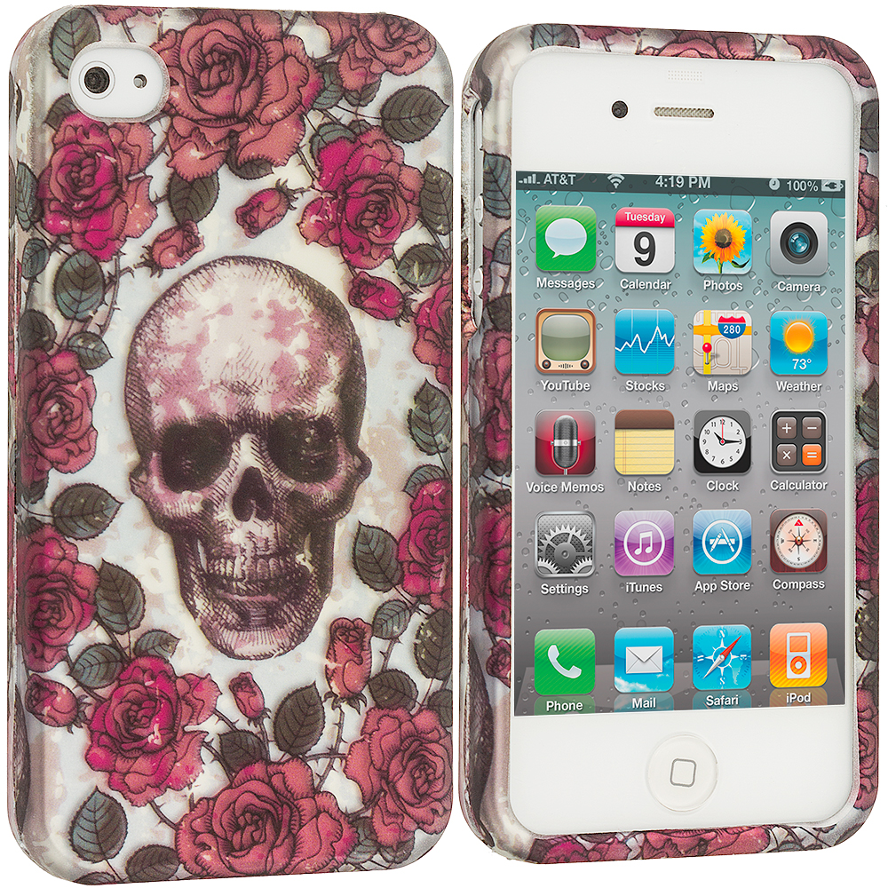 Apple iPhone 4 / 4S Gorgeous Skull Hard Rubberized Design Case Cover