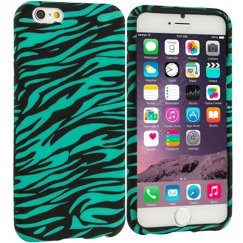 Apple iPhone 6 6S (4.7) 8 in 1 Combo Bundle Pack - TPU Design Soft Case Cover : Color Black/Baby Blue Zebra