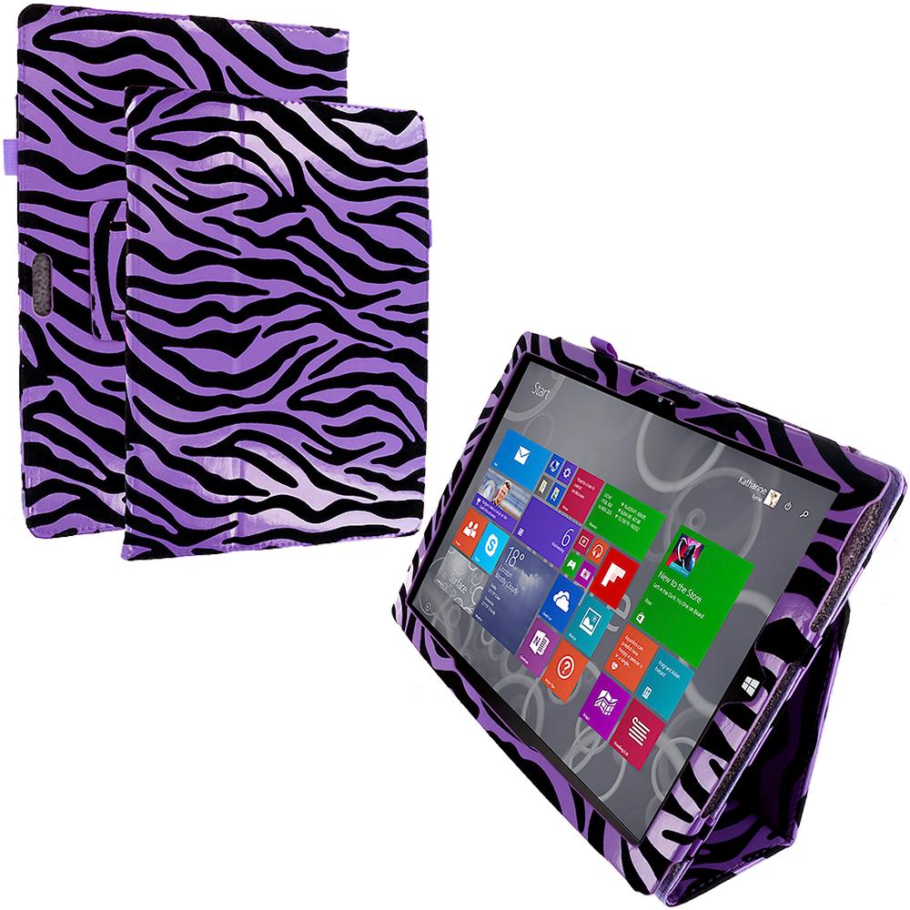 Microsoft Surface Pro 3 Purple Zebra Folio Pouch Flip Case Cover Stand