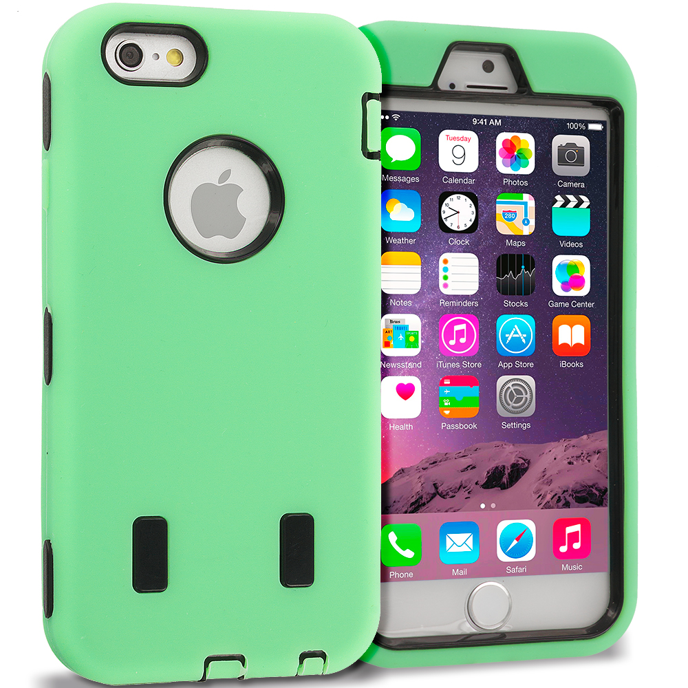 Apple iPhone 6 6S (4.7) Mint Green / Black Hybrid Deluxe Hard/Soft Case Cover