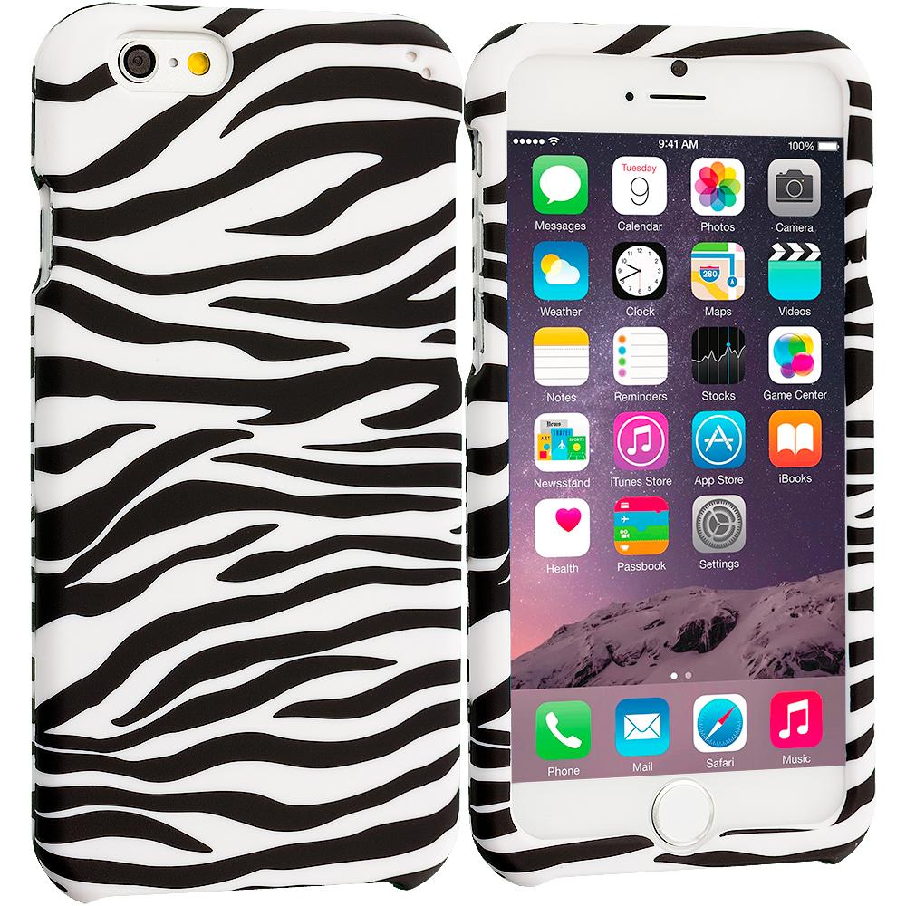 Apple iPhone 6 6S (4.7) Black/White Zebra Hard Rubberized Design Case Cover