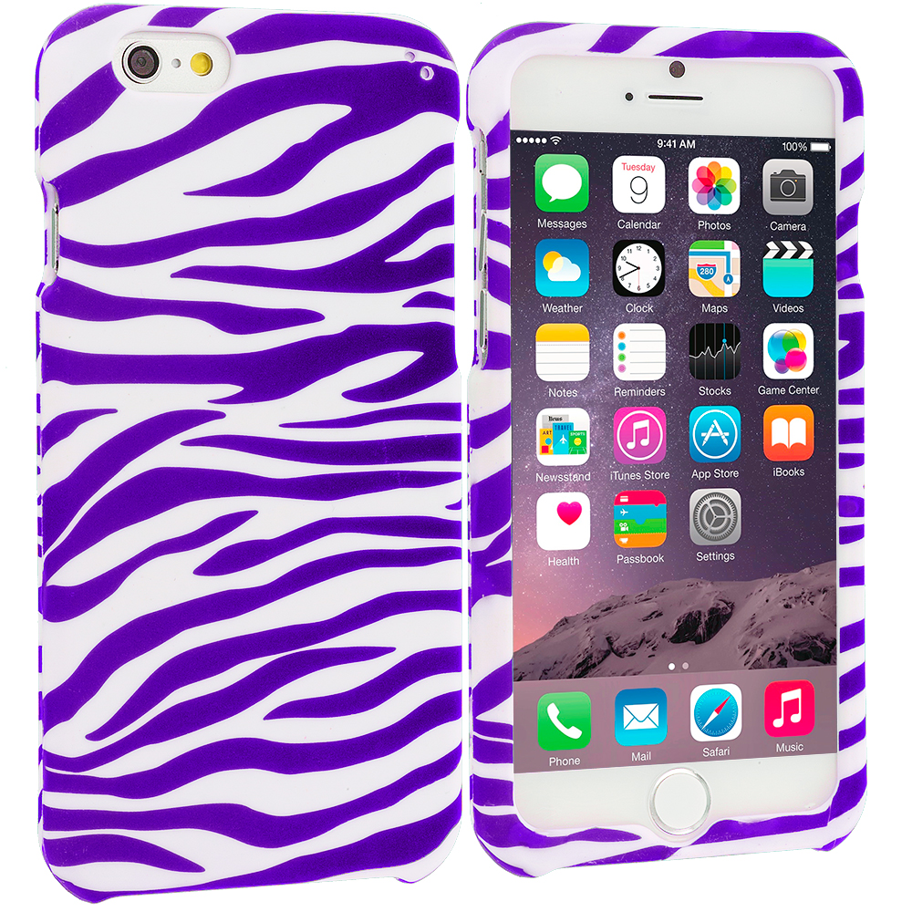 Apple iPhone 6 6S (4.7) Purple / White Zebra Hard Rubberized Design Case Cover
