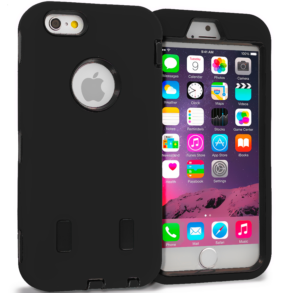 Apple iPhone 6 6S (4.7) Black / Black Hybrid Deluxe Hard/Soft Case Cover
