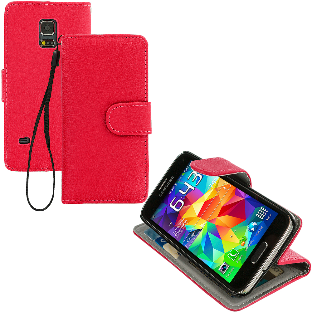 Samsung Galaxy S5 Mini G800 Red Leather Wallet Pouch Case Cover with Slots