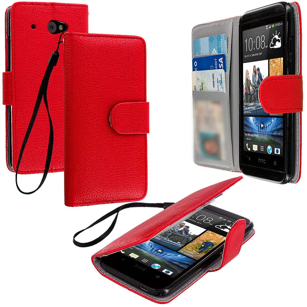 HTC Desire 601 Red Leather Wallet Pouch Case Cover with Slots