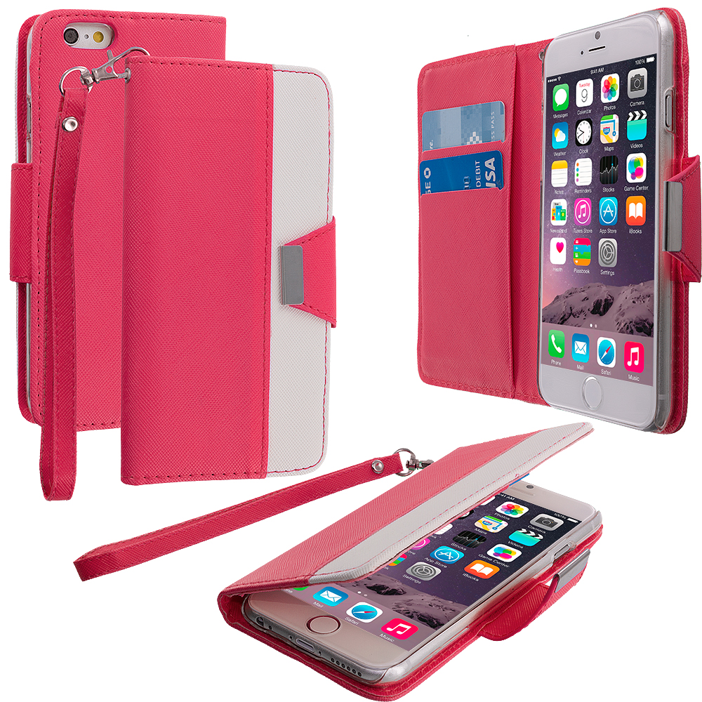 Apple iPhone 6 Plus 6S Plus (5.5) Hot Pink Wallet Magnetic Metal Flap Case Cover With Card Slots