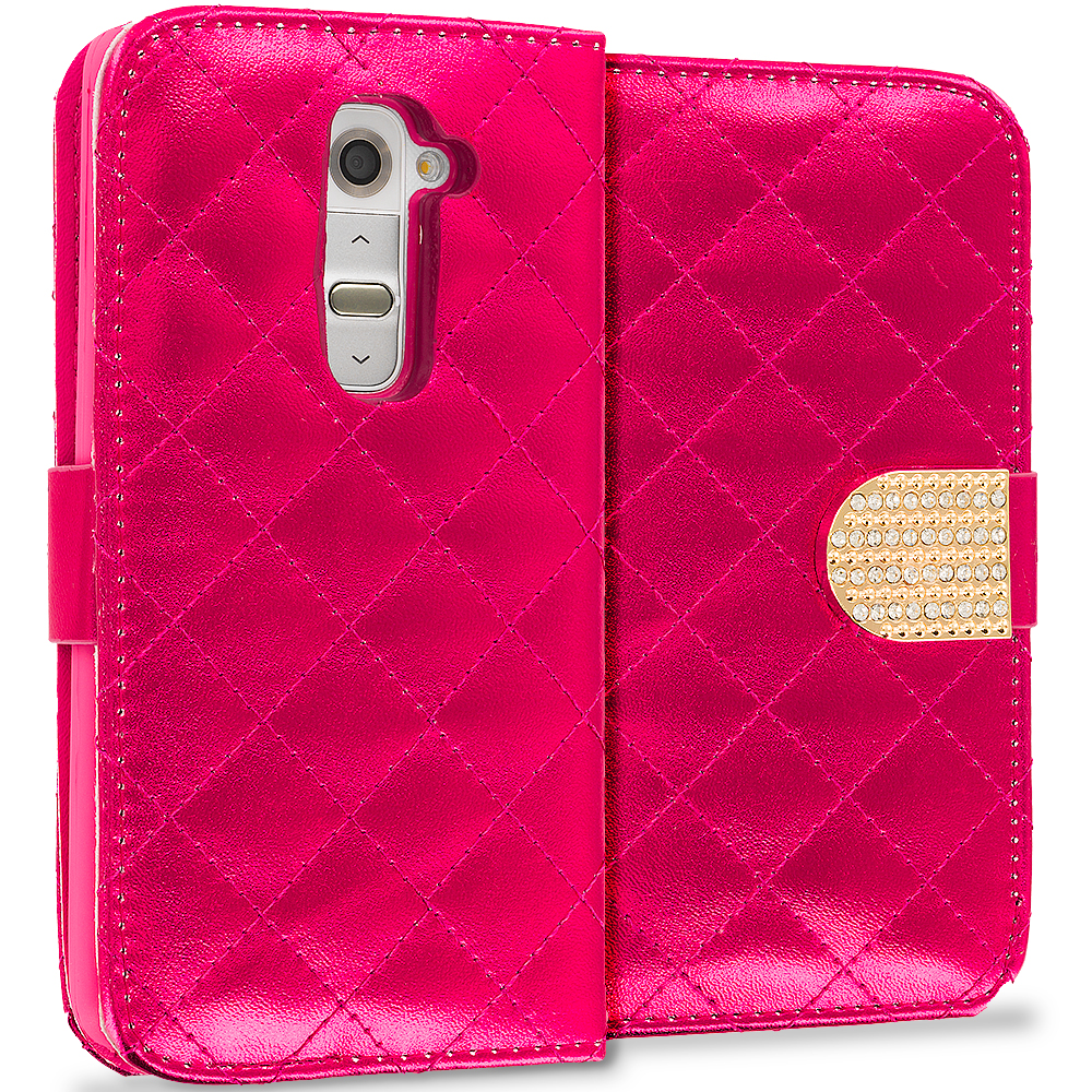LG G2 Sprint, T-Mobile, At&t Red Luxury Wallet Diamond Design Case Cover With Slots