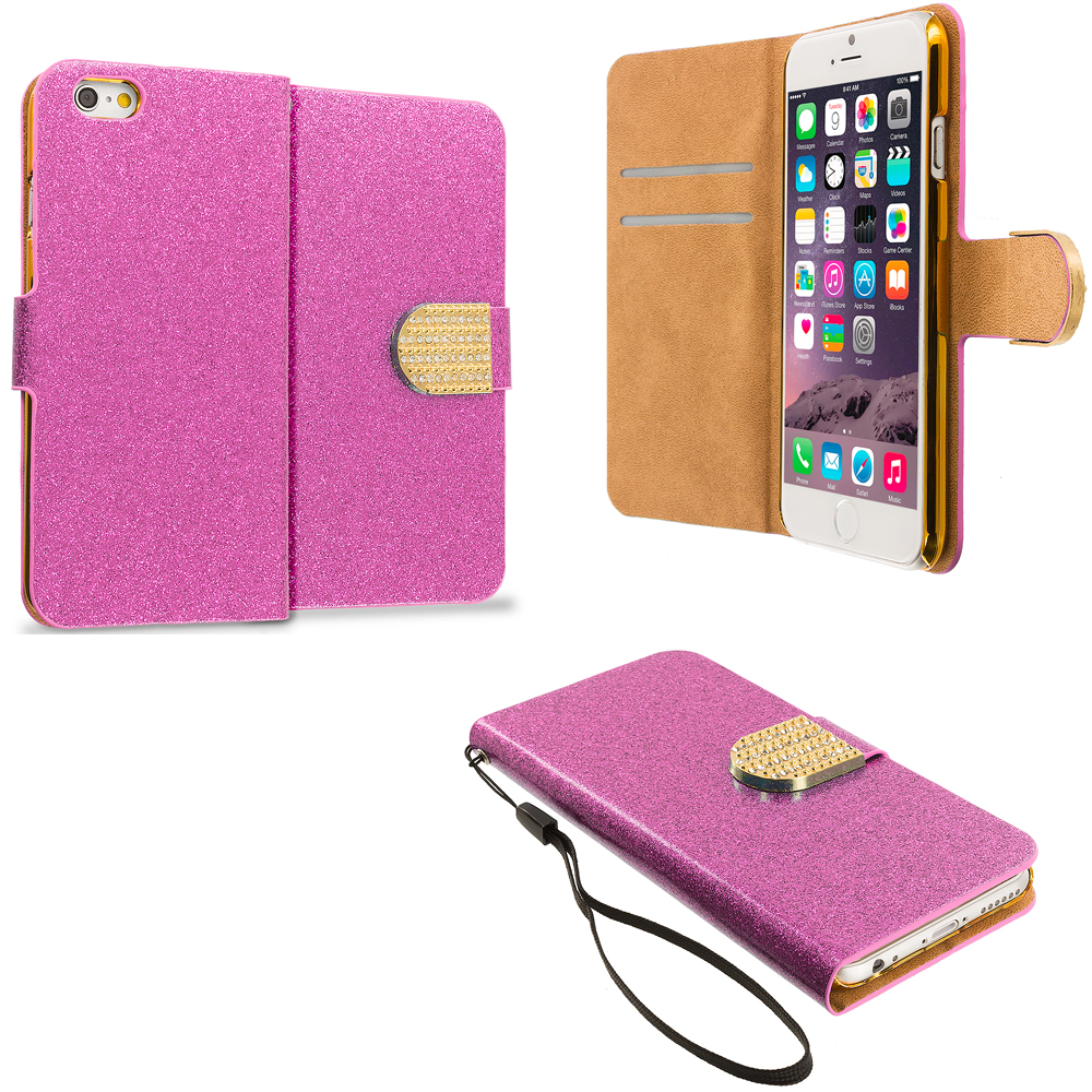 Apple iPhone 6 6S (4.7) Hot Pink Glitter Bling Wallet Case Cover Pouch With Slots