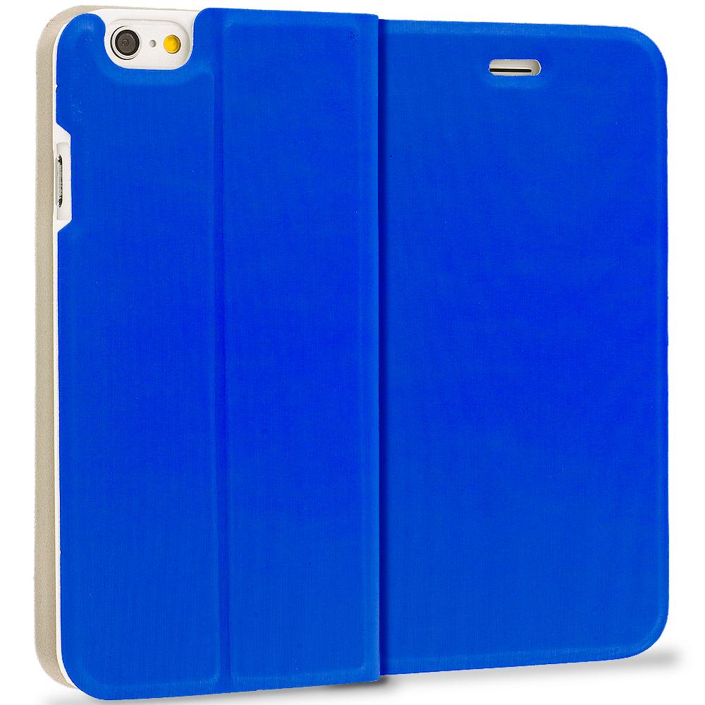 Apple iPhone 6 Plus 6S Plus (5.5) Blue Slim Flip Wallet Case Cover