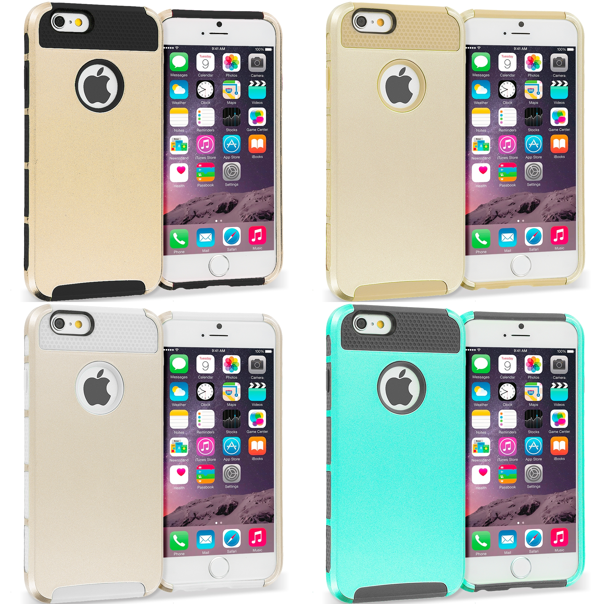 Apple iPhone 6 Plus 6S Plus (5.5) 4 in 1 Combo Bundle Pack - Hybrid Hard TPU Honeycomb Rugged Case Cover